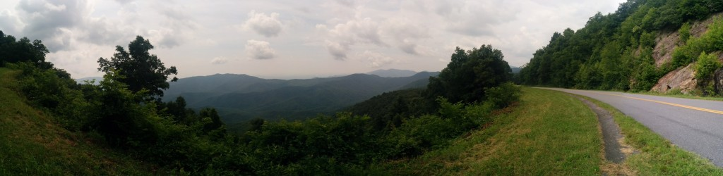A panorama taken from an overlook on the Blue Ridge Parkway somewhere within 50 miles of Asheville